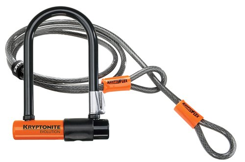 Kryptonite Evolution Mini-7 Bicycle U-Lock w/ 4' KryptoFlex Double...