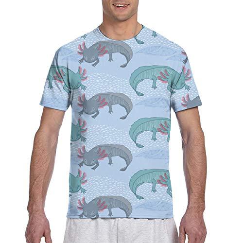Camisa de Manga Corta Casual Mexicana para Hombre Axolotl Camisetas de béisbol Ajustadas