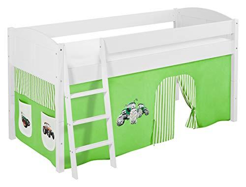 Lilokids Spielbett IDA 4106 Trecker Grün Beige-Teilbares Systemhochbett weiß-mit Vorhang Kinderbett, Holz, 208 x 98 x 113 cm