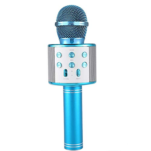 Microfono Karaoke Altavoz Bluethoot 858 Azul Wireless inalambrico grabación Canción niños niñas