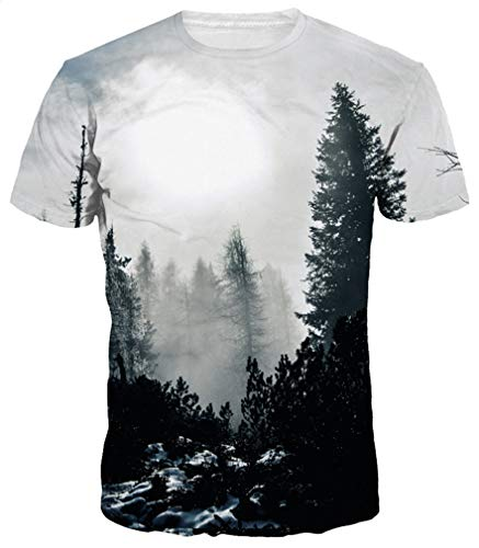 Ocean Plus Hombre Divertido Impresión Digital 3D Modelo Camiseta Cuello Redondo Manga Corta T-Shirt Unisex Tops (L/165-170, Bosque Gris)