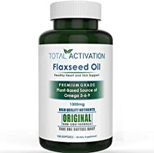 Organic Flaxseed Oil 1,000 mg Omega-3, Immune System Booster with Omega 3,6,9 from Natural ALA, Supports Healthy Heart, Hair, Skin and Nails, 100 Rich Liquid Softgels Per Bottle