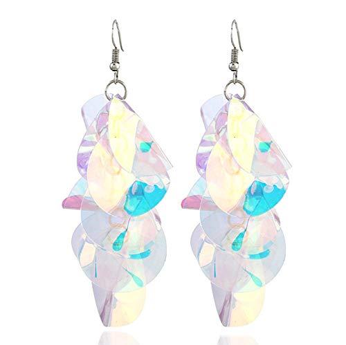 NOBRAND Pendientes de Gota de Flores de Lentejuelas Coloridas Grandes Irregulares para Mujer declaración Borla geométrica Pendientes Largos Pendientes de joyería