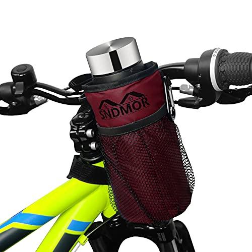 SNDMOR Portaborraccia per bicicletta-Portabicchiere per bicicletta con 2 tasche in rete Adatto per mountain bike, biciclette per bambini, biciclette elettriche(vino rosso)