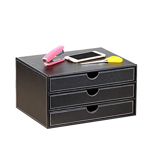 BLIENCE Büro Schreibtisch Organizer, Leder Briefablagen, 3 Schubladen, schubladenbox a4,Aktensortierer, Dokumentenhalter Arbeitsplatz, Schreibtisch Aufbewahrungsbox für Schreibwaren