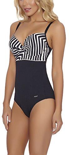 Feba Modellante Corpo Push Up Costume da Bagno per Donna SC1RL2T (Nero/Crema, EU Cup 75E/Bottom 38 (IT 2E/44))