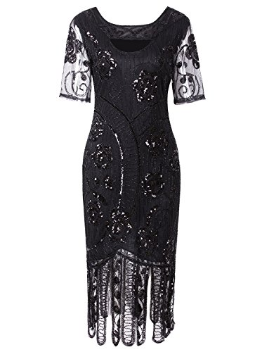 VIJIV Women 1920s Elegant Dresses Long Beaded Great Gatsby Flapper Dress with Sleeves for Evening Party, Black X-Large (Modest Mother Of The Bride Dresses With Sleeves)