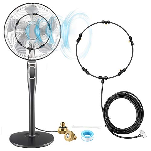 NASUM Fan Misting Kit for Cool Patio Breeze 19.36FT Misting Line with 5 Removable Brass Nozzle and Plated Solid Brass Adapter, Connects to Many Fans, Anto Misting Spray System for Summer Cooling