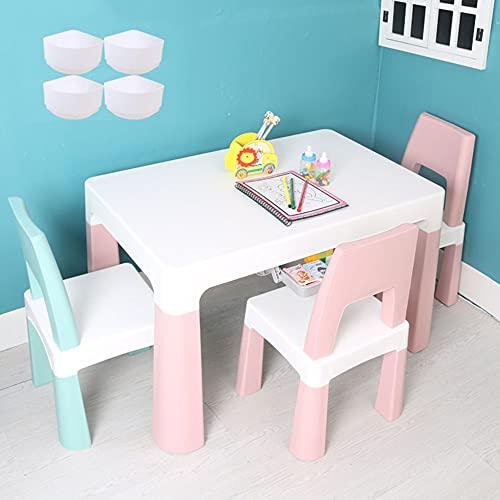 Juego de mesa y silla para niños, mesa y silla de estudio multifuncional para niños, mesa elevadora con 3 sillas, cajones dobles, para que los niños de jardín de infantes lean, coman y jueguen /