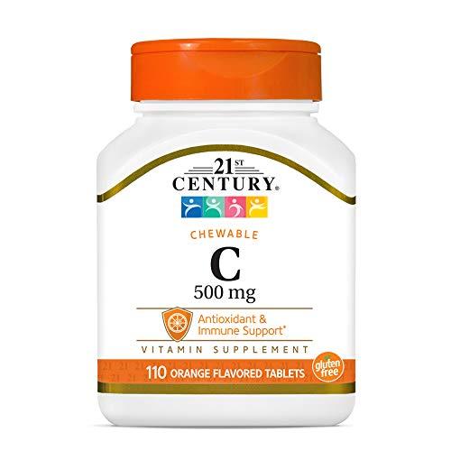 21st Century Vitamin C 500 mg Orange Chewable Tablets, 110 Count (21024)