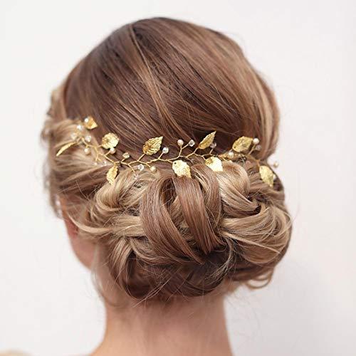 Cathercing Brautschmuck Hochzeit Stirnband Haar Rebe Kopfschmuck Gold Blatt Haarband Vintage Lange Braut Stirnband Haarschmuck für Braut Haarspangen für Abschlussball Party