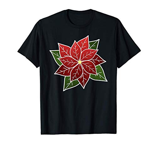 Poinsettia with White Outline T-Shirt