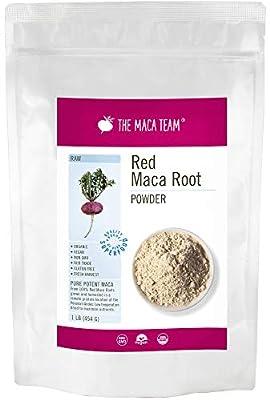 Raw Red Maca Root Powder - 454 g - Certified Organic, Highest Nutrients of All, Fresh Harvest from Peru, Organic, Fair Trade, GMO-Free, Gluten Free Vegan and Raw