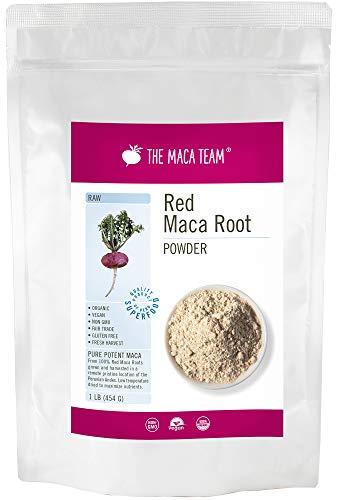 Rohes rotes Maca Wurzel Pulver – 454g – bio- zertifiziert, frische Ernte aus Peru, Fair Trade, gentechnikfrei, glutenfrei, vegan, 50 Portionen