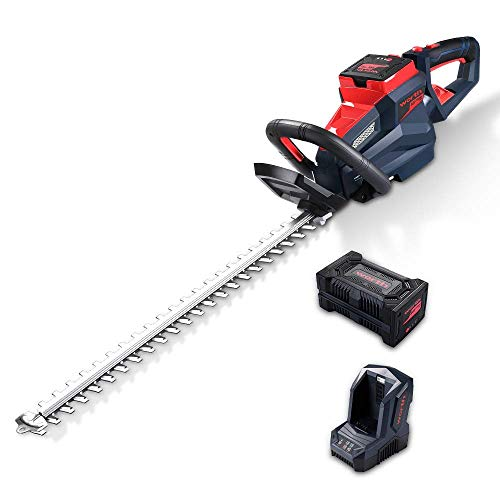 Worth 84V Lithium-Ion 24-Inch Cordless Hedge Trimmer with 2.5Ah Battery & Charger, 3100-3400SPM, Dual Blades with 3/4-Inch Cutting Capacity, Electric Powered Gardening Tool for Bushes & Shrubs