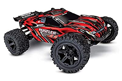 Traxxas Rustler 4x4, 4x4 RC Truck, 1/10 Scale, Red