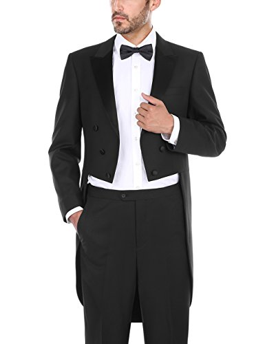 CHAMA Men's 2 Piece Tail Tuxedo Classic Fit Black Tailcoat Blazer and Pants for Men (Black, 46R)