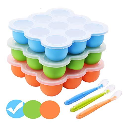 BOCHION BPA-freie Gefrierform zum Einfrieren und Aufbewahren von Babynahrung/Babybrei (Blau)