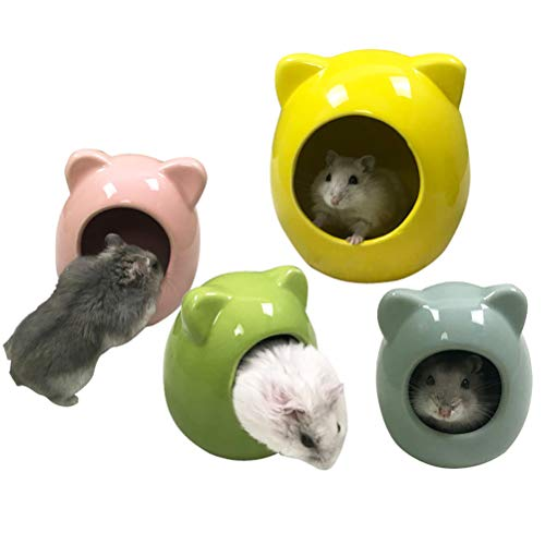 Balacoo Small Animal House, Ceramic Hamster Bedding Hideout Nest, Critter Bath for Chinchilla Hamster Rat Gerbils (Random Color)