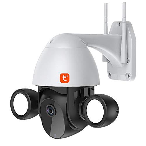Cámara IP Tuya WIFI, con luz de inundación, cámara de seguridad PTZ de velocidad de seguimiento automático para exteriores, vigilancia CCTV de visión nocturna con infrarrojos de 1080P,Negro