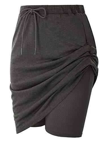 JACK SMITH Women's Athletic Skort Drawstring Waist Stretchy Knitting Skirts with Pockets(2XL,Deep Gray)