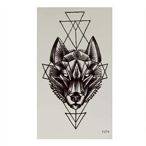 1 x Wolfkopf Tattoo in schwarz - mit geometrischen Formen - Temporary Body Tattoo - T074 (1)