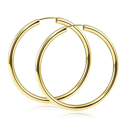 MATERIA Damen Creolen 585 Gold Ohrringe 40mm - runde Goldohrringe groß flexibel mit Schmuck-Box - Made in Germany GO-4
