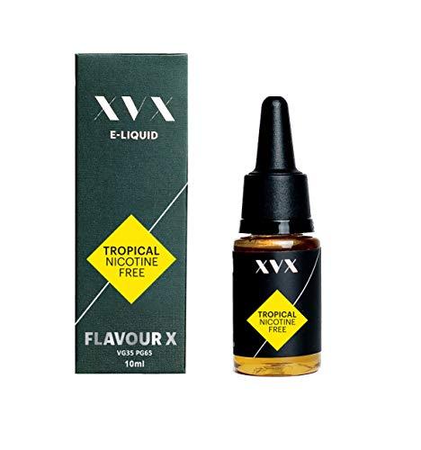 XVX E Liquid - Tropical Flavour - Peach & Mango - Flavour X - E Cigarettes Electronic Liquid - E Cigarette Shisha Vapouriser Liquid - 10ml Nicotine Free Bottle - Needle Tip Ecig - E Cig