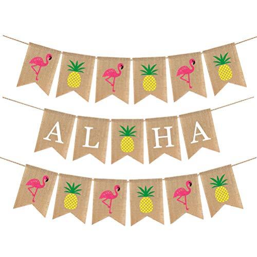 Amosfun 3 Stks Hawaii bunting banner jute ananas flamingo aloha bunting zwaluwstaart vormige pull vlag slinger