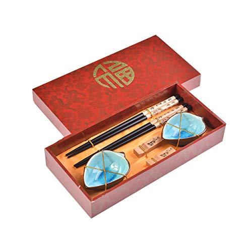 Quantum Abacus Pregiato Set di Bacchette bambù stormente 2 Bacchette cesellate in Legno, 2 poggiabacchette, 2 Ciotole in Ceramica, in Confezione Regalo, MOD. I_S2-B-W-03