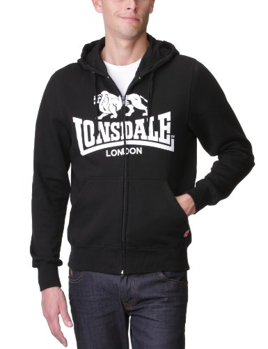 Lonsdale Herren Sweatshirt Sweatshirt Slim Fit Hooded Zip Krafty schwarz (schwarz) Medium