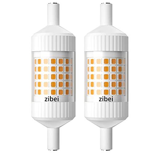 Bombilla LED R7S 78 mm regulablebombilla J78 10 W blanco cálido 3000 K repuesto de 48 W lámpara halógena de doble base lámpara LED linealcasquillo R7sángulo de haz de 360° (2 unidades, regulable)