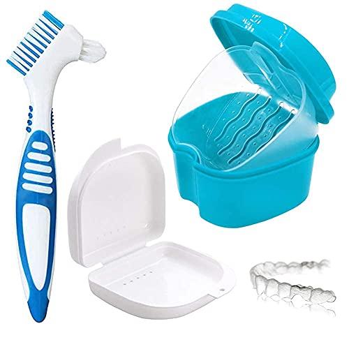 Caja de almacenamiento de dentaduras postizas, caja de inmersión, instalaciones sanitarias, caja de almacenamiento de ortodoncia, 2 cajas pequeñas de almacenamiento de viaje. Y cepillo de limpieza