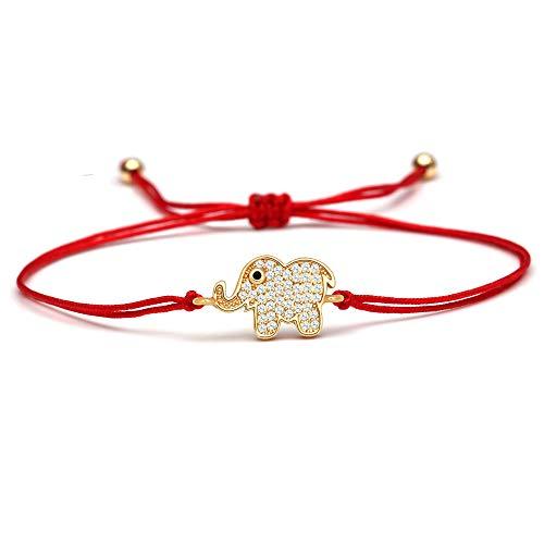 ANGYANG Pulsera Tejida,Cuerda Roja con Circonita Dorada Cúbica Brillante Elefante Trenzado Pulseras con Dijes Ajustables Amistad De La Suerte para Niños Hombres Mujeres Parejas Chica
