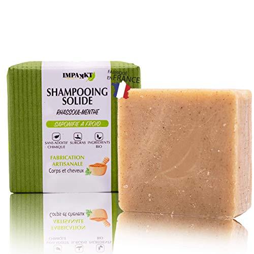 Shampooing Solide bio sans sulfate sans silicone sans paraben Shampoing naturel fabriqué en France (cheveux gras, normaux ou secs) Enrichi en rhassoul (argile) et huiles essentielles menthe poivrée