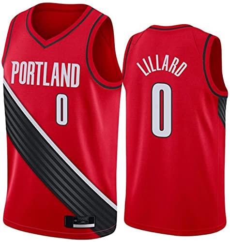 ZMIN Jersey Portland Trail Blazers # 0 Lillard Cool Tela Transpirable Bordado Jerseys Retro, Unisex Baloncesto Fan Uniforme,Rojo,S 165~170cm