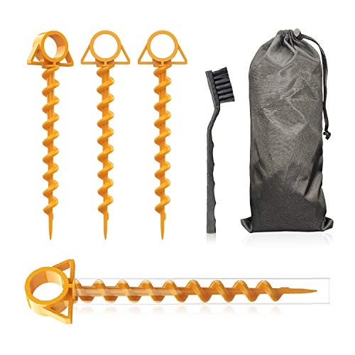 Tent Stakes,Ultimate Ground Anchor Orange Screw 12' for Securing Tents,Canopies,Tarps,Trampoline Etc.4pc-Pack with Torque,Includes Brush and Bag