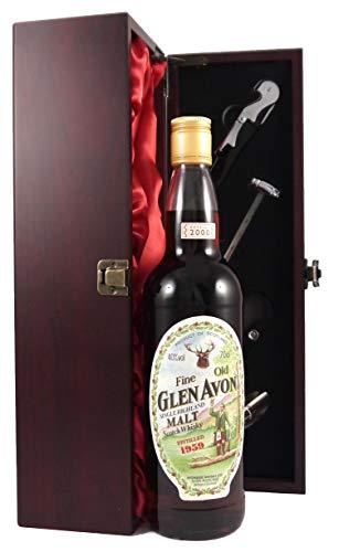 Glen Avon 1959 Vintage 41 year old Malt Scotch Whisky en una caja de regalo forrada de seda con cuatro accesorios de vino, 1 x 700ml