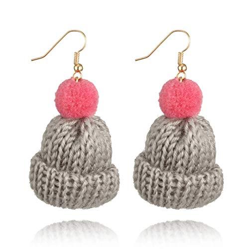 NNGUBIU Nette Pom Pom Ball Wollhut Haken Tropfen Winter Ohrringe Für Frauen Modeschmuck