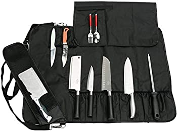 QEES Trousse De Couteaux Chef Professionnel Sacoche Couteaux 17 Compartiments avec Bandoulière en Tissus Oxford Serré Noir