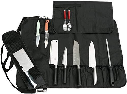 QEES Bolsa para cuchillos de camping con 17 compartimentos, cuchillos de sujeción,...
