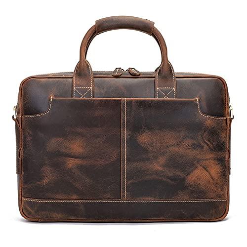 Bolso bandolera para portátil de 15,6 pulgadas, para hombre, de piel auténtica, cartera para portátil, oficina, negocios, trabajo, bolso de hombro cruzado