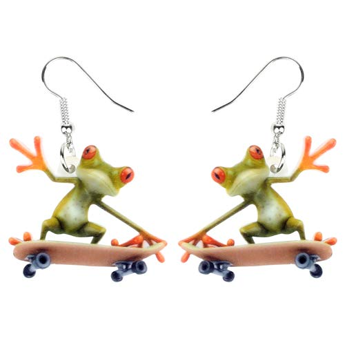 AdronQ® Acryl Cartoon Skateboard Frosch Ohrringe Drop Dangle Big Long Fashion Sportschmuck für Frauen Mädchen Teens