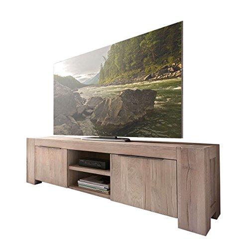 MÖBEL IDEAL TV Lowboard Unterschrank Fernsehschrank Granby 160 cm Massivholz Holz Eiche massiv Balkeneiche White Wash Breite 160 cm Tiefe 48 cm Höhe 50 cm