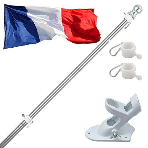 150cm Kit de Asta de Bandera de Aluminio con Soporte Asta de Bandera de Acero Inoxidable, kit de Barra de Bandera de Montaje en Pared Exterior con Anillos Giratorios, Incluye Bandera Francia