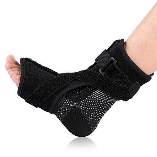 Attelle de nuit pour Fasciite Plantaire pour Femme et Homme, Orthopédique Support de pied de Soutien de Force Avec une Paire de Chaussettes de Compression pour Tendon d'Achille