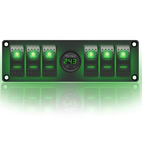 Stark Industries - 6-Gang Rocker Switch Aluminum Panel with Voltmeter- Toggle Switch Dash 5 Pin ON/OFF - 2-LED Backlit for Boat Truck Marine (Green)