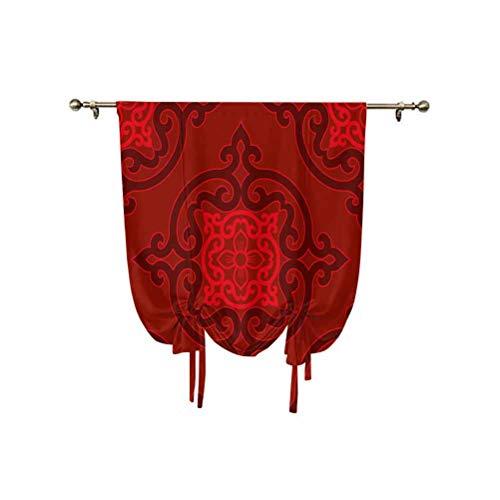 Cortina romana de color granate, cubierta china auténtica Daface inspirada en rosetón, diseño antiguo oriental, con aislamiento térmico, para cocina, niños, dormitorio, color marrón escarlata