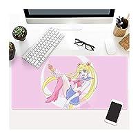 ゲーミングマウスパッド, 900x400mm XXL大判マウスパッドゲーマーマウスパッドゲーミングキーボードマットオフィステーブルクッション厚み付けノンスリップ、ゲーム用、オフィスワーキングかわいい-4 (Color : Sailor Moon9, Size : 800X300X3MM)