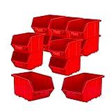 BigDean Stapelboxen Set 12 Stück Rot mittel 155x240x125mm - Kunststoff Sichtlagerkasten stapelbar - perfekt für Ordnung in Werkstatt & Garage